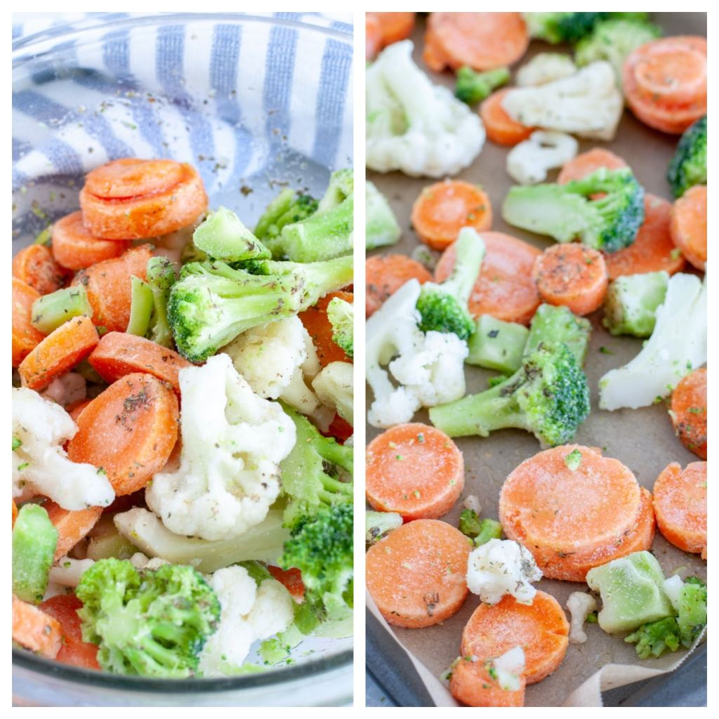 Frozen vegetables in a bowl and on a sheet pan.