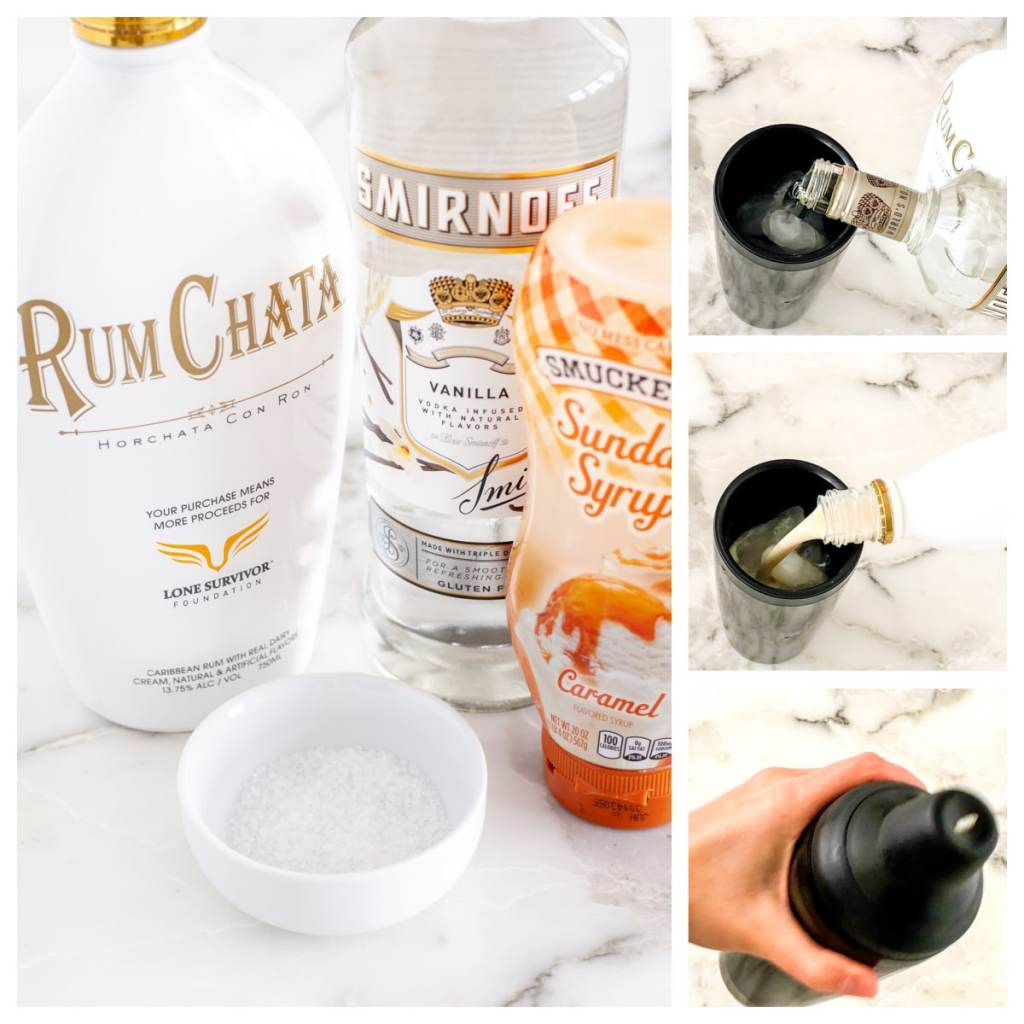 Bottle of RumChata, Vodka and caramel syrup.