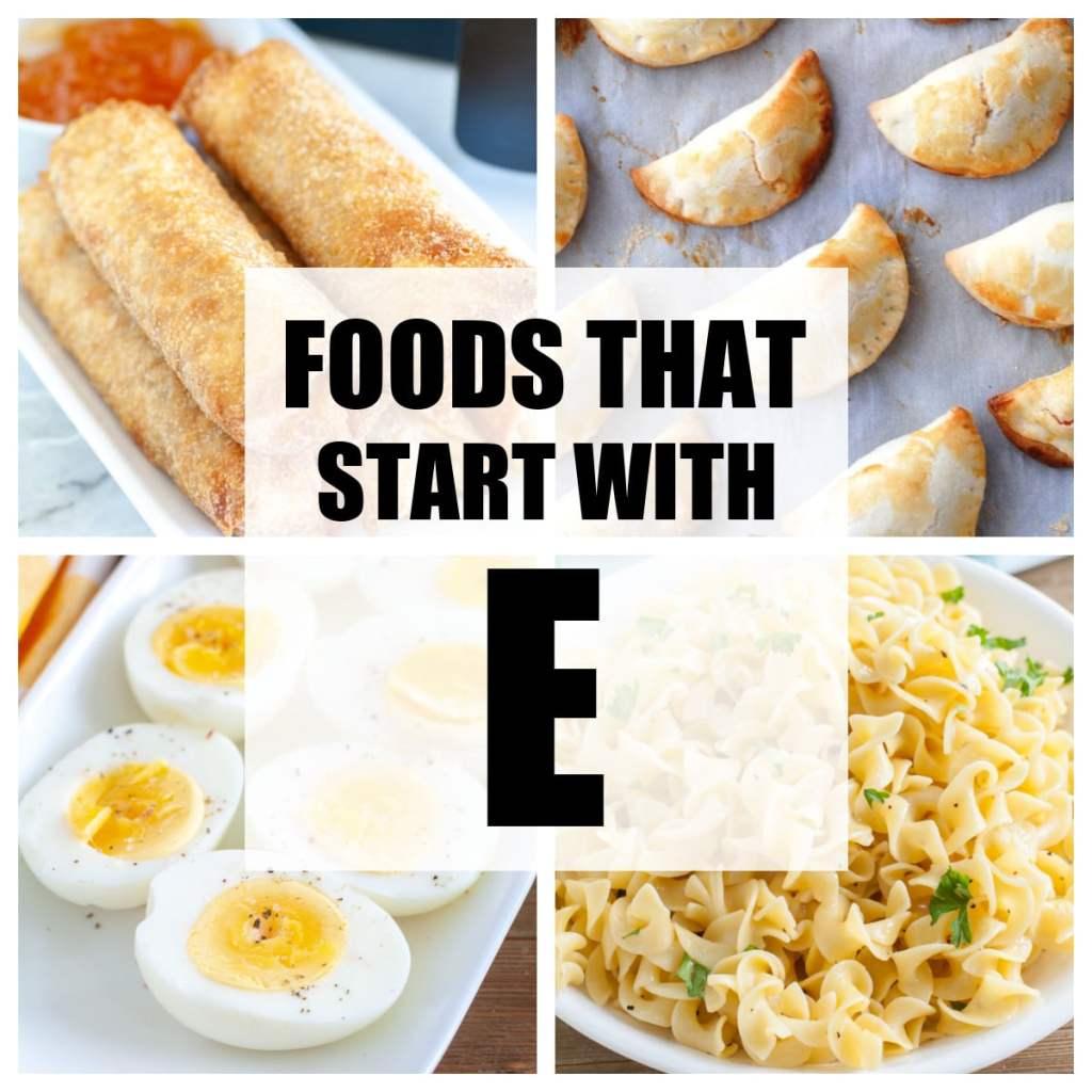 """Kelimeler """"E ile Başlayan Yiyecekler""""."""