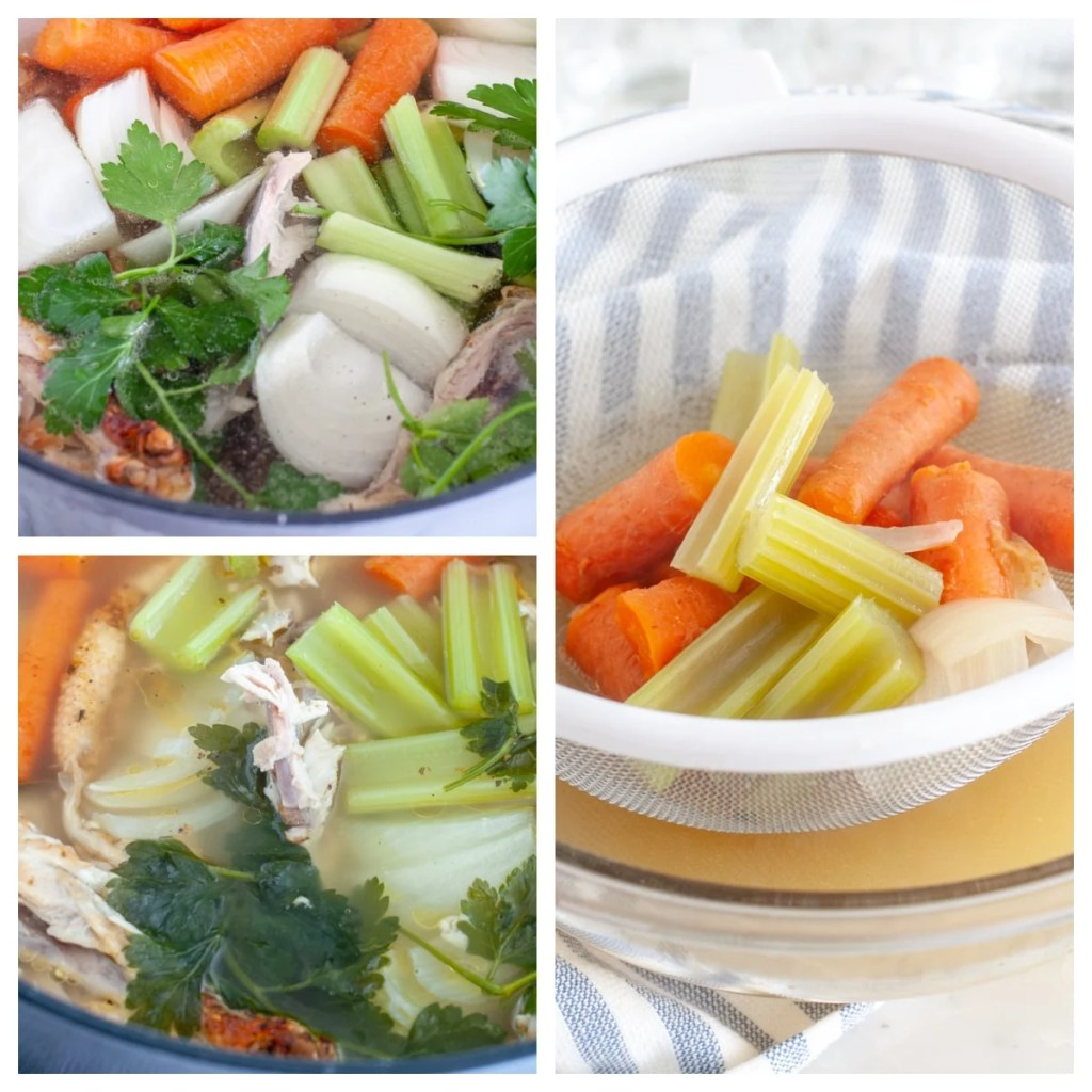 Pot with vegetables and chicken bones. Mesh strainer with vegetables.