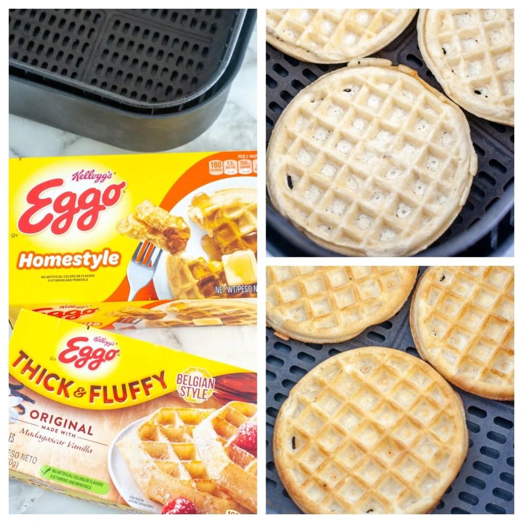 Dondurulmuş waffle kutuları.  Hava fritözünde waffle.