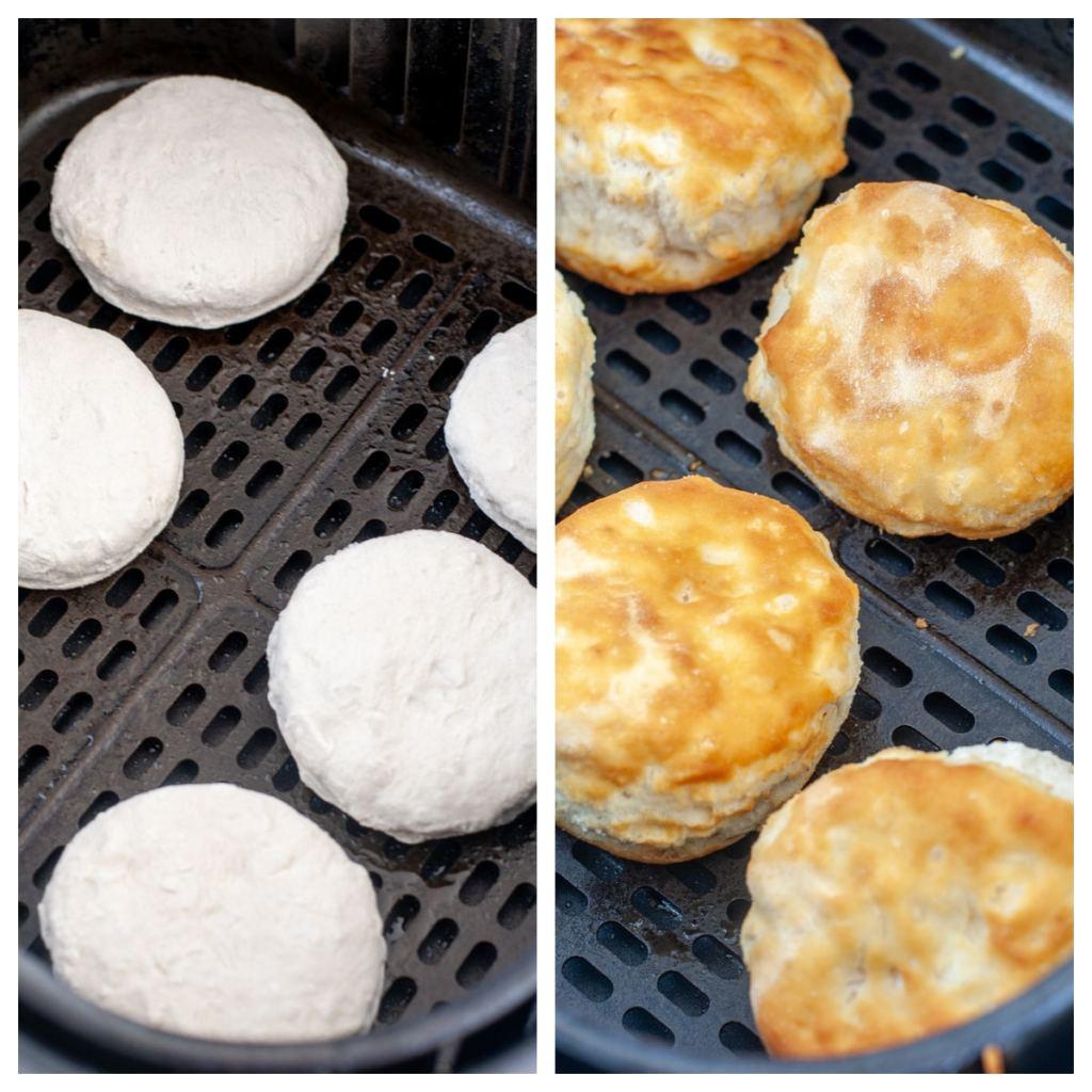 Fritöz sepetinde dondurulmuş ve fırınlanmış bisküviler.