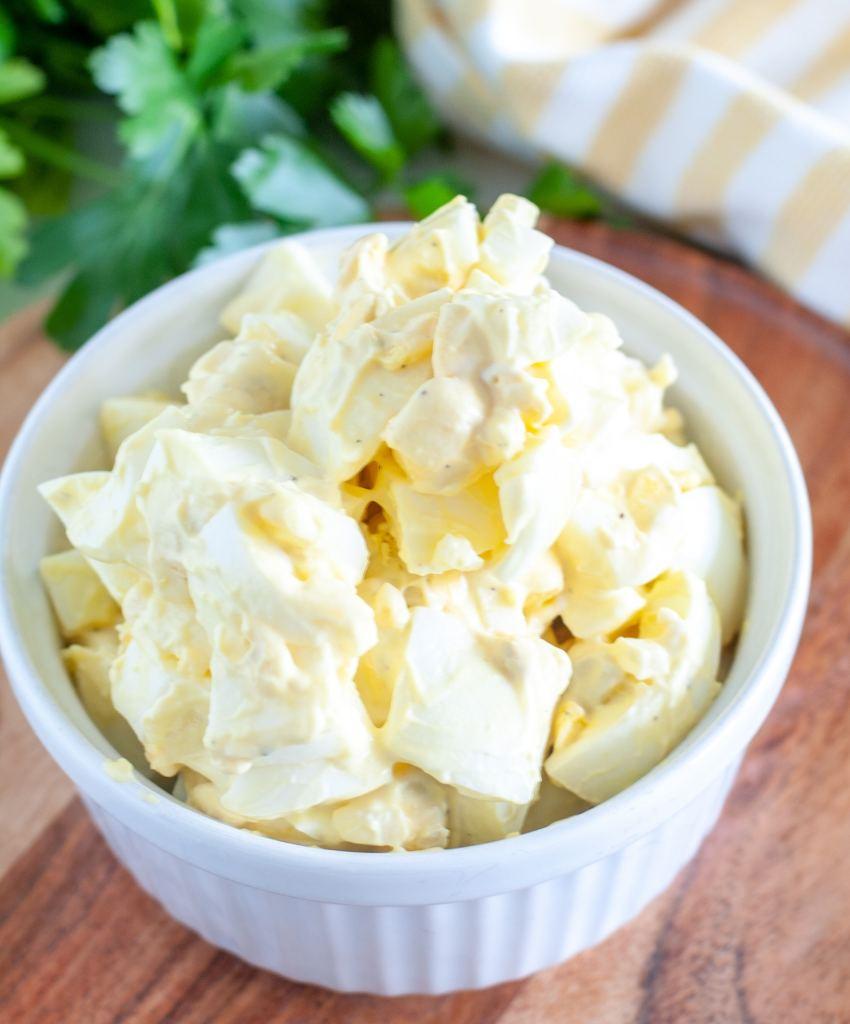 Bowl of egg salad.