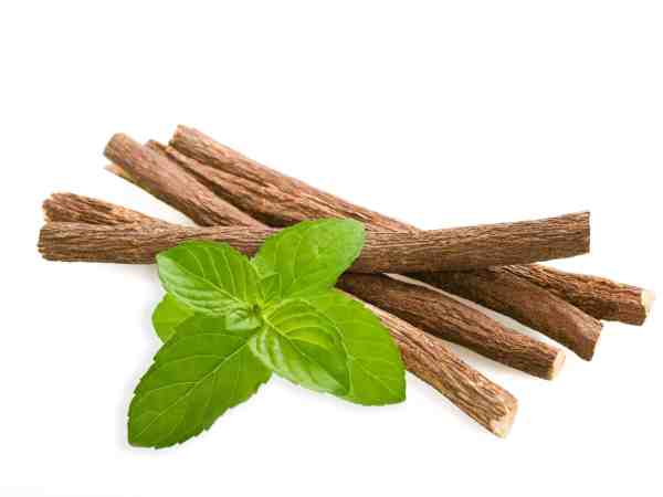 18170397 – roots licorice and mint isolated on white