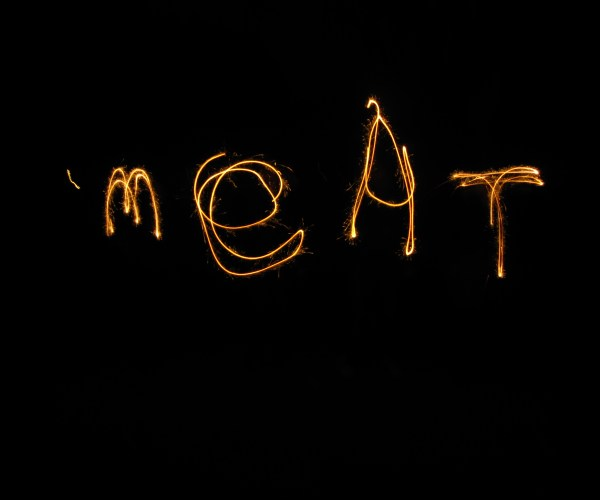 Meat Spelled Out With Sparklers After Eating at The Hobgolblin , Bristol