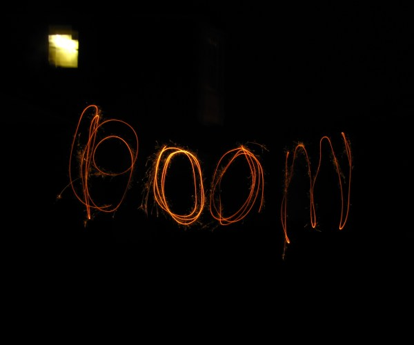 Boom Spelled Out With Sparklers After Eating at The Hobgolblin , Bristol