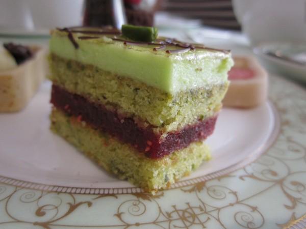 A Pistachio and Raspberry Slice