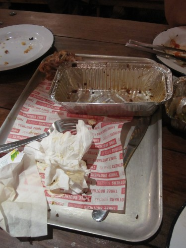 Distruction After The Meal at Three Brothers Burgers, Bristol