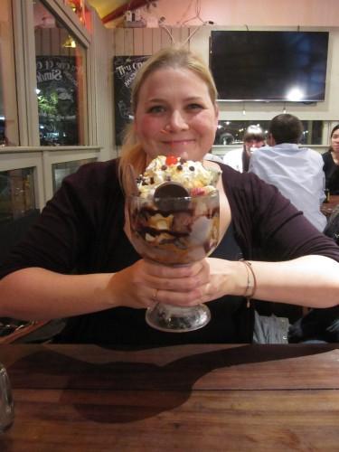 FoodNerd with Ice Cream Sundae at Three Brothers Burgers, Bristol