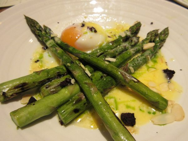Grilled Sussex Asparagus, 62° Egg, Black Pudding, Toasted Almond, Rabbit, London