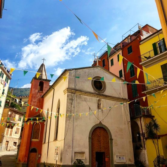 Colourful Chapel and Bunting in Riomaggiore, Cinque Terre, Italy