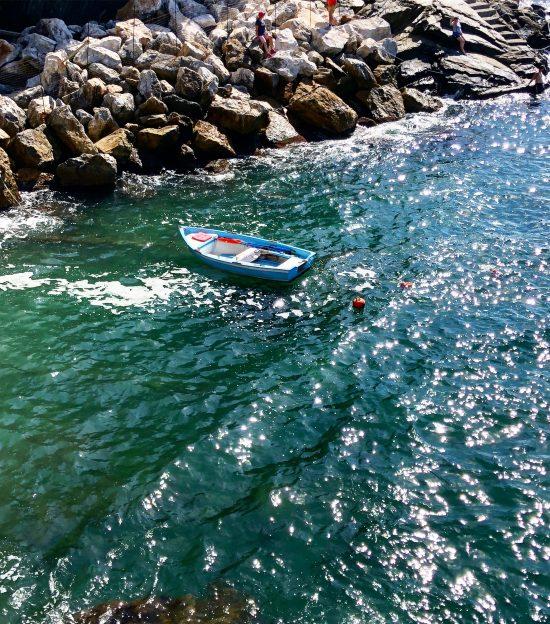 Blue Sailing Boat, by Riomaggiore, Cinque Terre, Italy