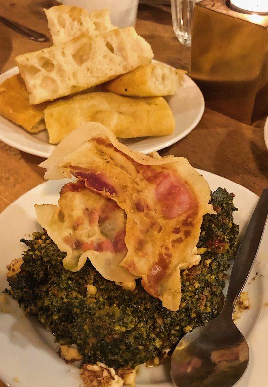 Rosemary Focaccia with Cavolo Nero Pesto with Crispy Guanciale at 91 Ways Supper Club, Bristol