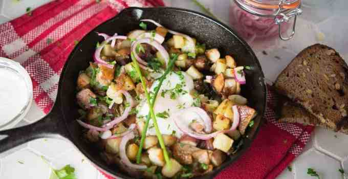 Duck Hash with Poached Eggs and Pickled Red Onions