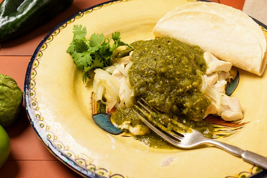 Chicken Chile Verde as prepared by David Jackson of Food Over 50