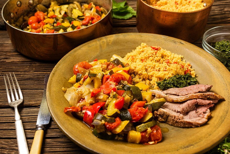 Roast Lamb w/ Chimichurri & Ratatouille recipe as prepared by David Jackson on Food Over 50