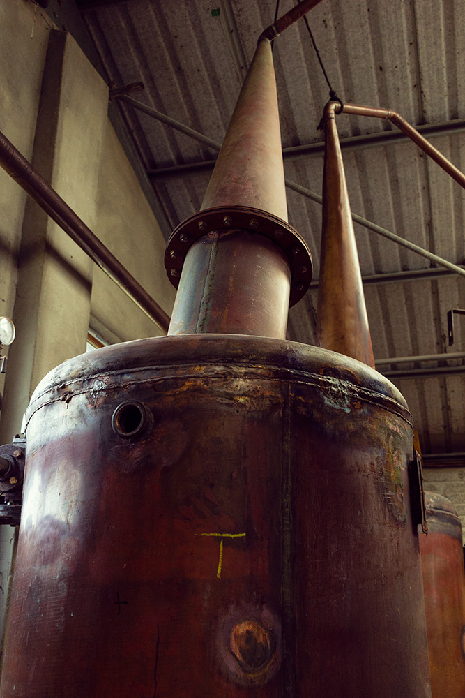 whisky kettle at Red River Distillery in Scotland