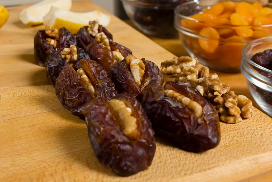 Walnut stuffed medjool dates as prepared by David Jackson on Food Over 50