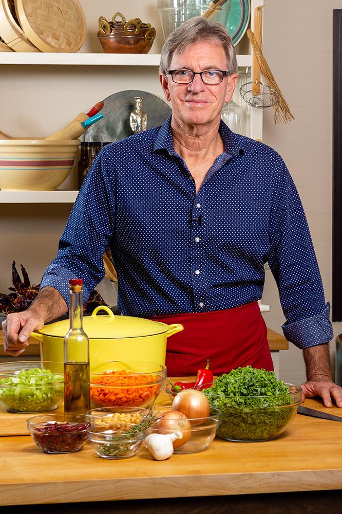 David Jackson prepares to make Almost Chicken Soup