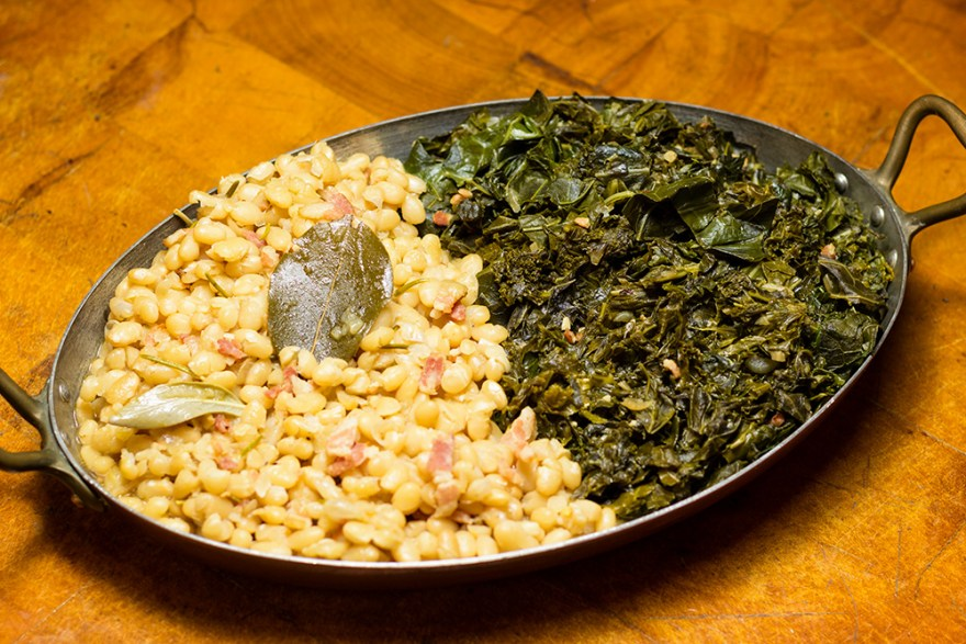 Fiber rich, Southern style greens and beans