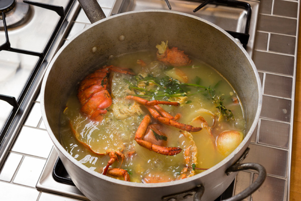 Homemade lobster stock