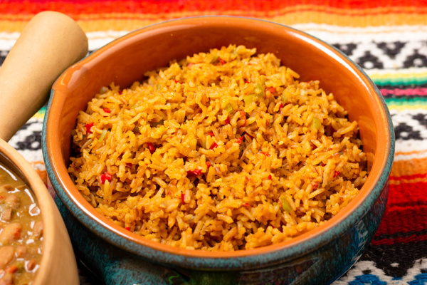 Spanish rice made with lobster stock