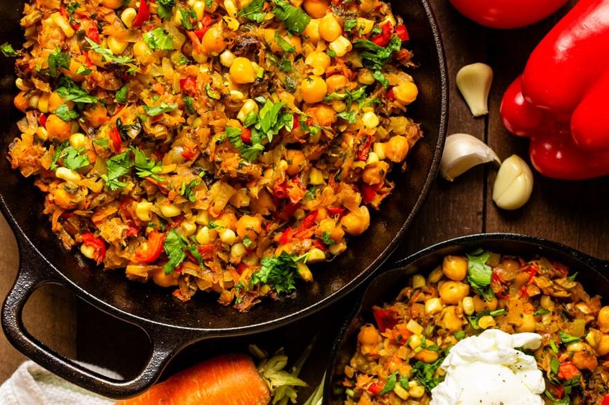 Garden skillet breakfast recipe as prepared by Food Over 50