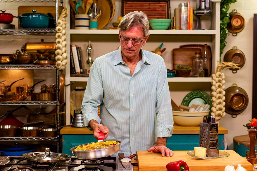 host David Jackson prepares a Spanish tortilla on Food Over 50