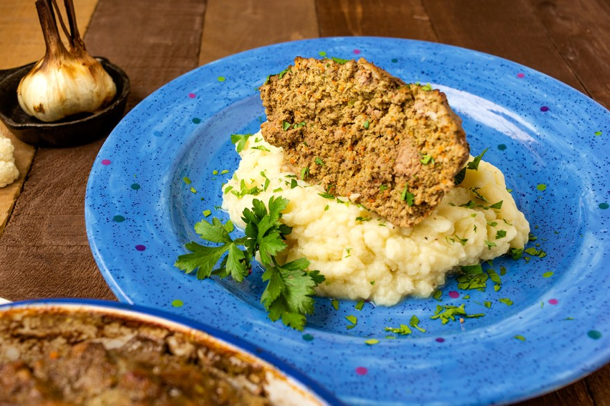 Minimizing meat with meatloaf and cauliflower mash as prepared by Food Over 50