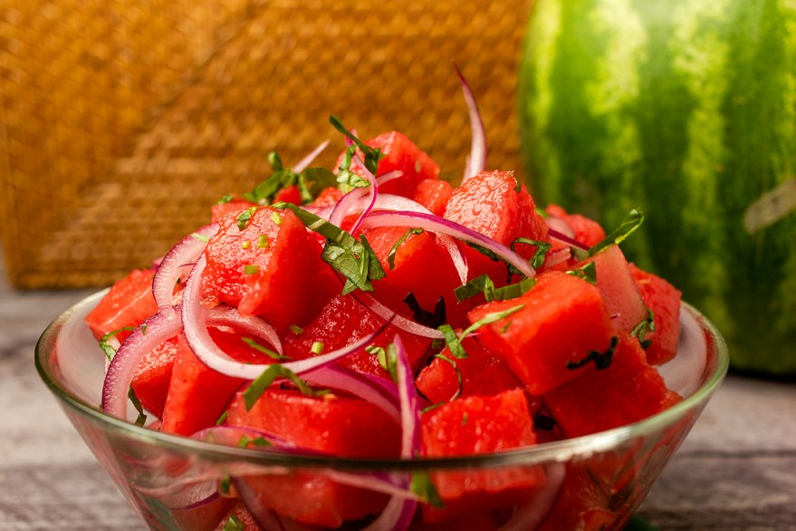 Garden variety meals with a watermelon salad as prepared by Food Over 50