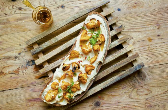 Hummus And Cauliflower Tartines Recipe