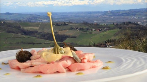 Vitello tonnato comes with a view in Italy's Langhe region.