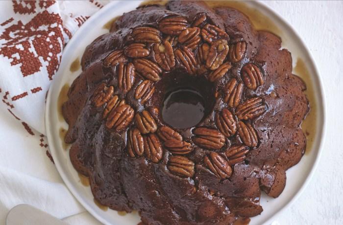 Chocolate Caramel Pecan Bundt Cake