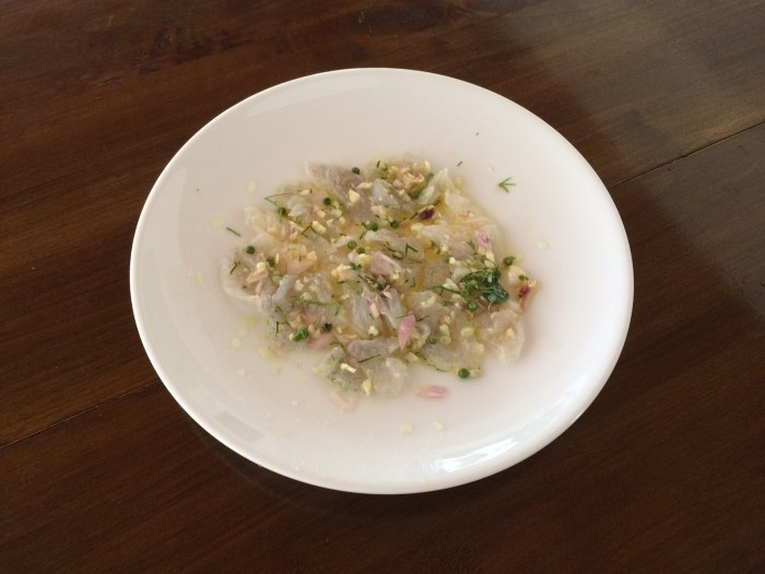 Grouper Ceviche with green peppercorn & red onion