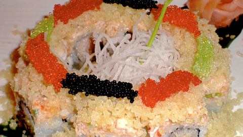 Tobiko can be infused with different flavors, resulting in color changes. (Photo: Joe Bielawa/Flickr.)