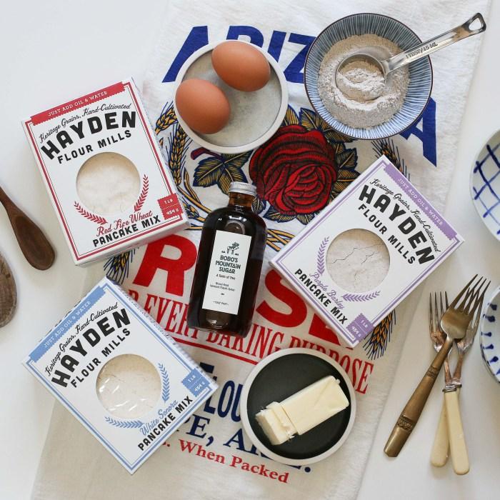Hayden Flour Mills offers four heritage baking mixes: White Sonora Pancake Mix, Red Fife Pancake Mix, Purple Barley Pancake Mix, and Heritage Cornbread Mix. (Photo credit: Hayden Flour Mills)