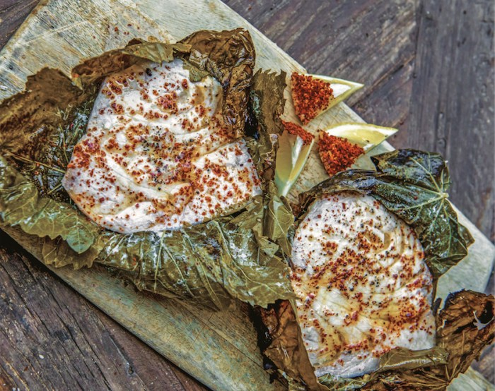 Hot Fish: Grilled Swordfish In Grape Leaves
