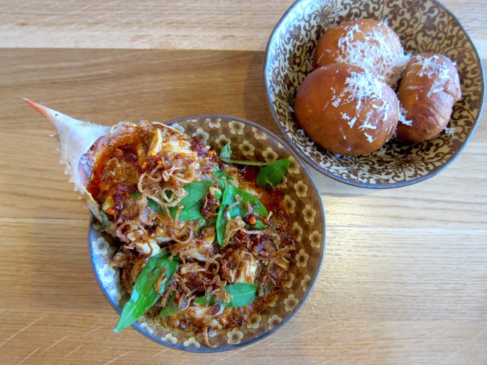 Chili crab and fried buns are just a couple of examples of Aqui's exciting menu. (Photo: Mai Pham.)