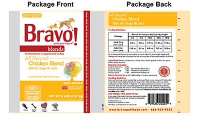 Bravo pet food label
