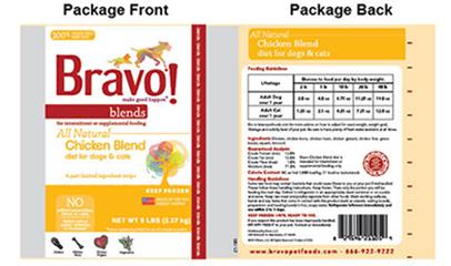 Bravo pet food label
