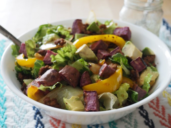 purple sweet potato taco salad