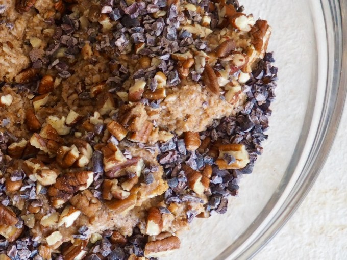 banana nut breakfast cookies with cacao nibs and pecans