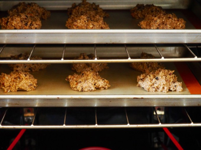 banana nut breakfast cookies in the oven
