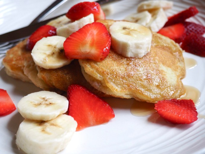 baking with coconut flour pancakes with bananas and strawberries