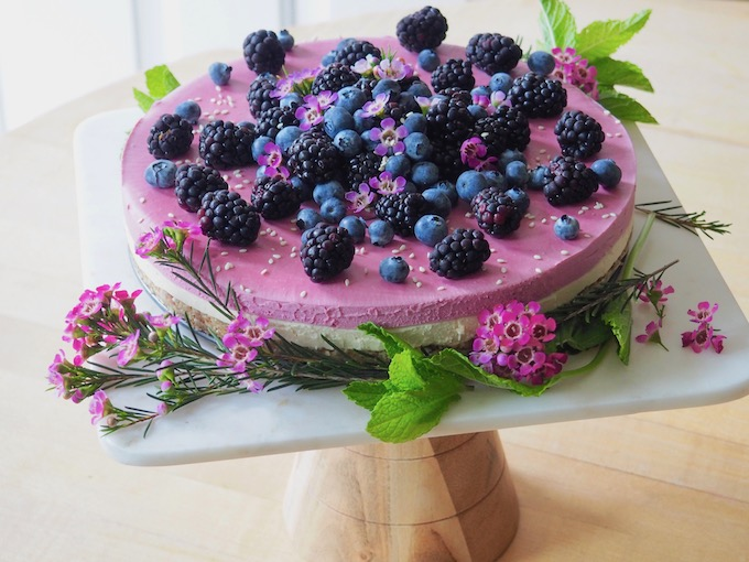 Raw Vegan Blackberry Lavender Cheesecake