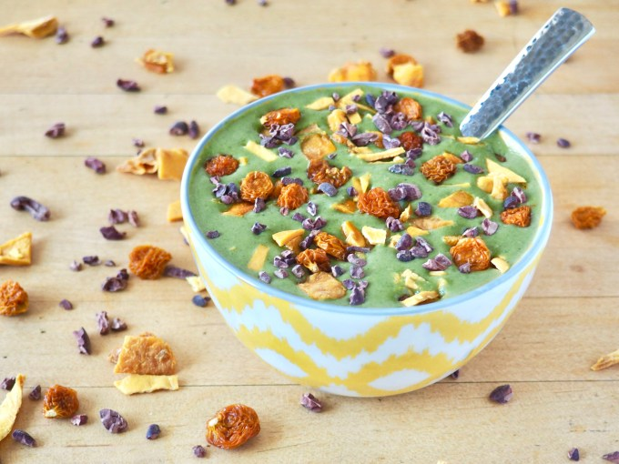 quick and healthy breakfast recipes exotic green smoothie bowl with mangoes and goldenberries
