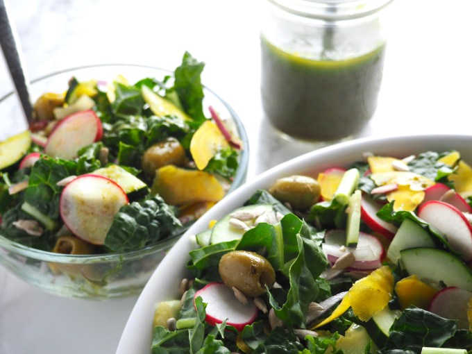 Crunchy Basil Rainbow Kale Salad, Paleo, Raw, Vegan, 3-Ingredient Basil Vinaigrette