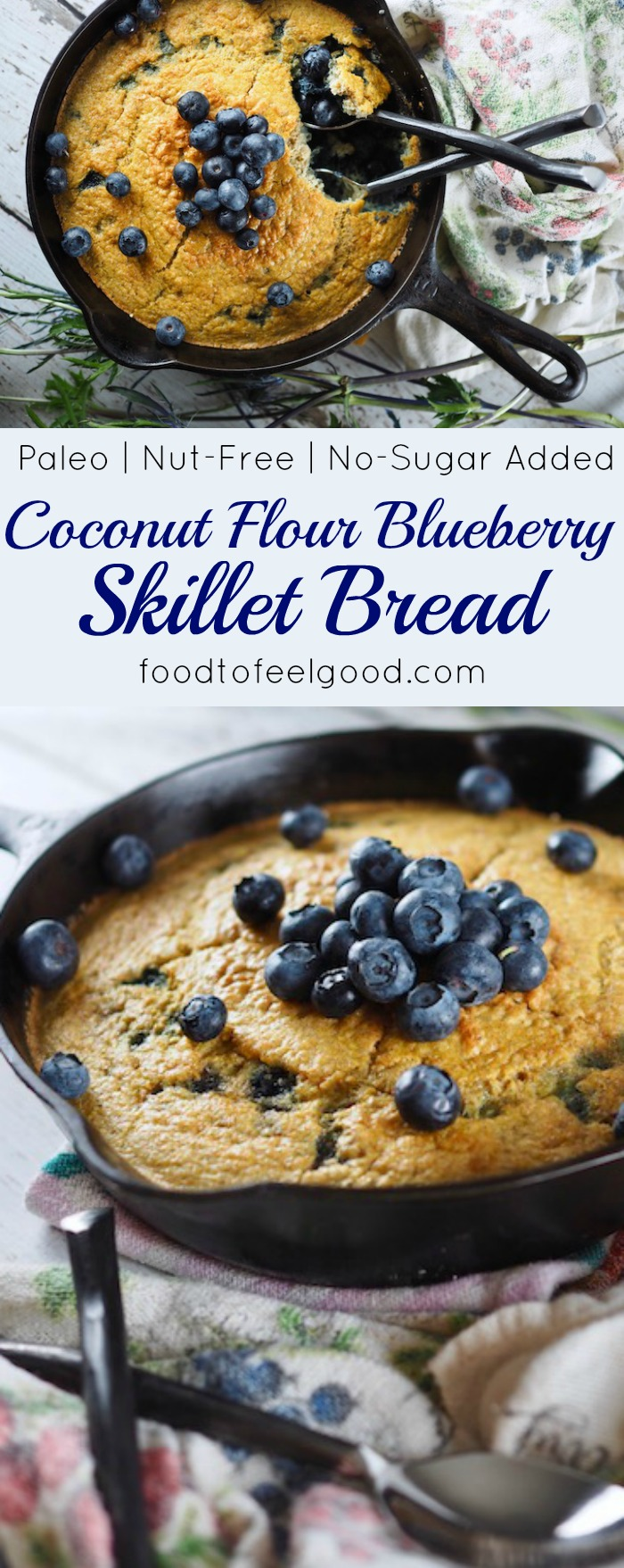 Healthy Paleo Coconut Flour Blueberry Skillet Bread | Keto-friendly, grain-free, gluten-free, dairy-free, sugar-free, yeast-free, high-protein, and low-carb! Super yummy and comforting on a cold morning, plus easy to make. #healthyrecipes #paleo #whole30