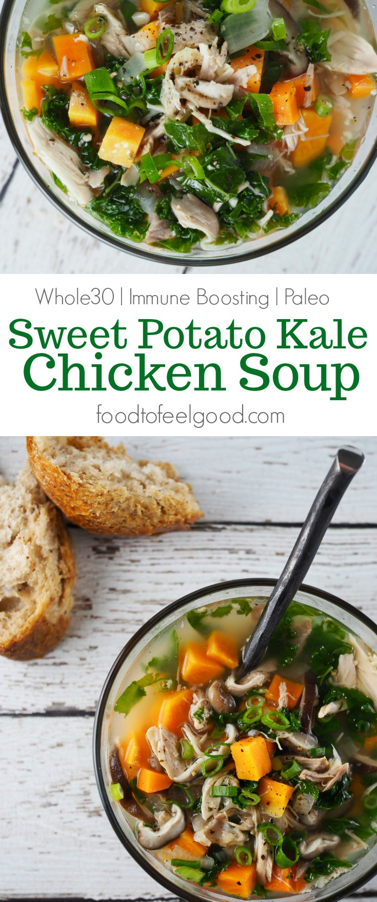 Whole30 | Immune Boosting | Paleo | Sweet Potato Kale Chicken Soup | A delicious way to stay healthy all winter long. #healthyrecipes #paleo #chicken #whole30 #whole30recipes