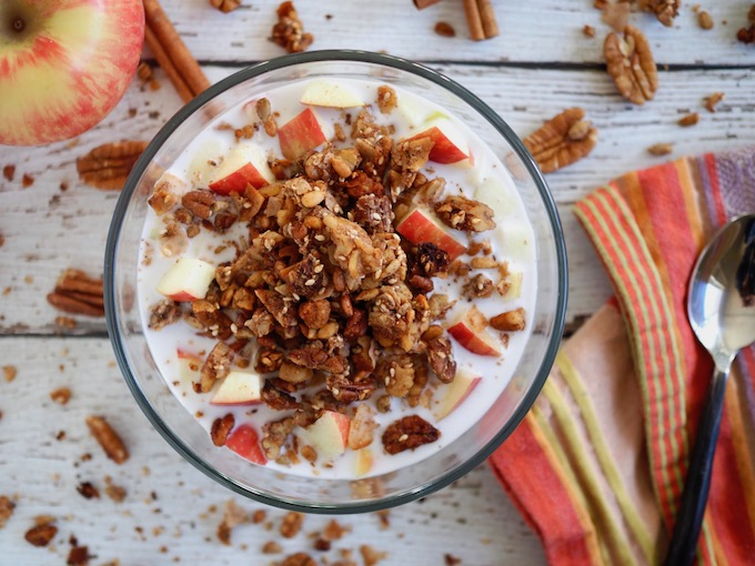 bowl of cinnamon crunch grain-free granola with apples and coconut milk on white wood table